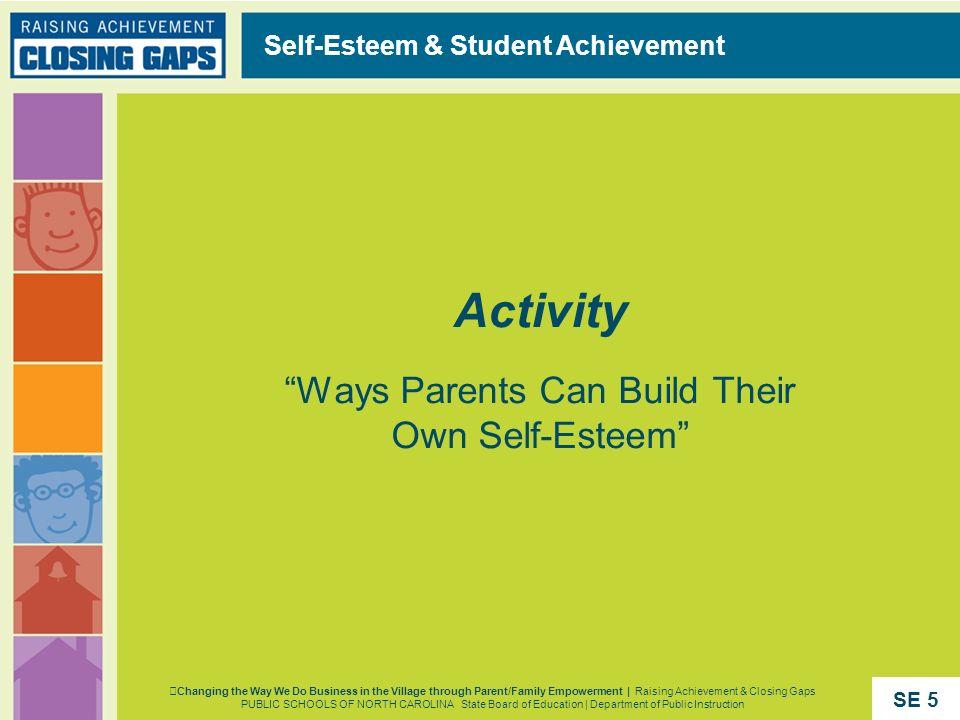 Activity Ways Parents Can Build Their Own Self-Esteem Self-Esteem & Student Achievement Changing the Way We Do Business in the Village through Parent/