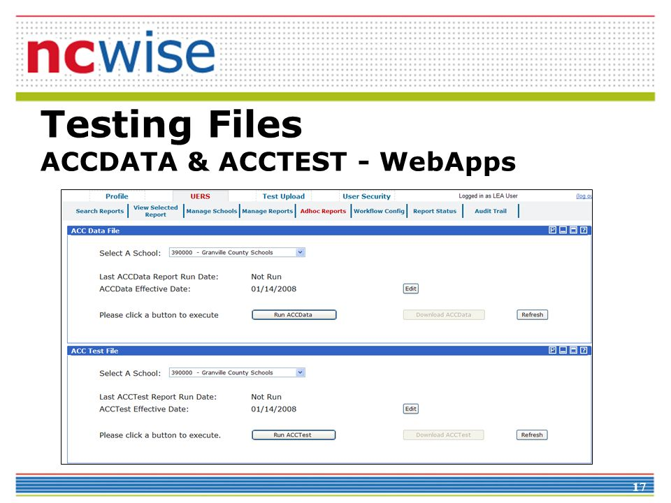 17 Testing Files ACCDATA & ACCTEST - WebApps