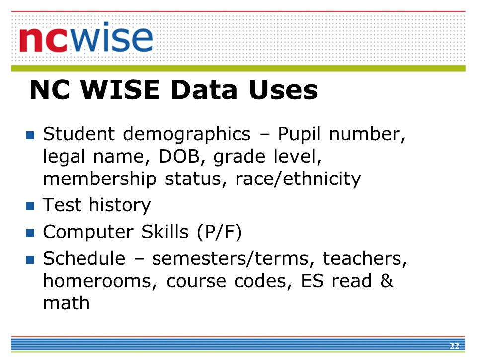 22 NC WISE Data Uses Student demographics – Pupil number, legal name, DOB, grade level, membership status, race/ethnicity Test history Computer Skills