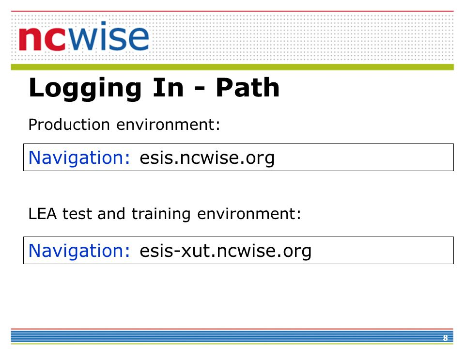 88 Logging In - Path Navigation: esis-xut.ncwise.org Navigation: esis.ncwise.org LEA test and training environment: Production environment:
