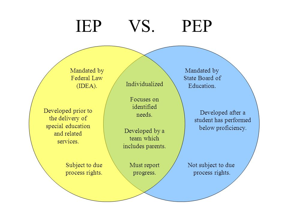 IEP VS. PEP What is an IEP? What is a PEP? What is common to both?