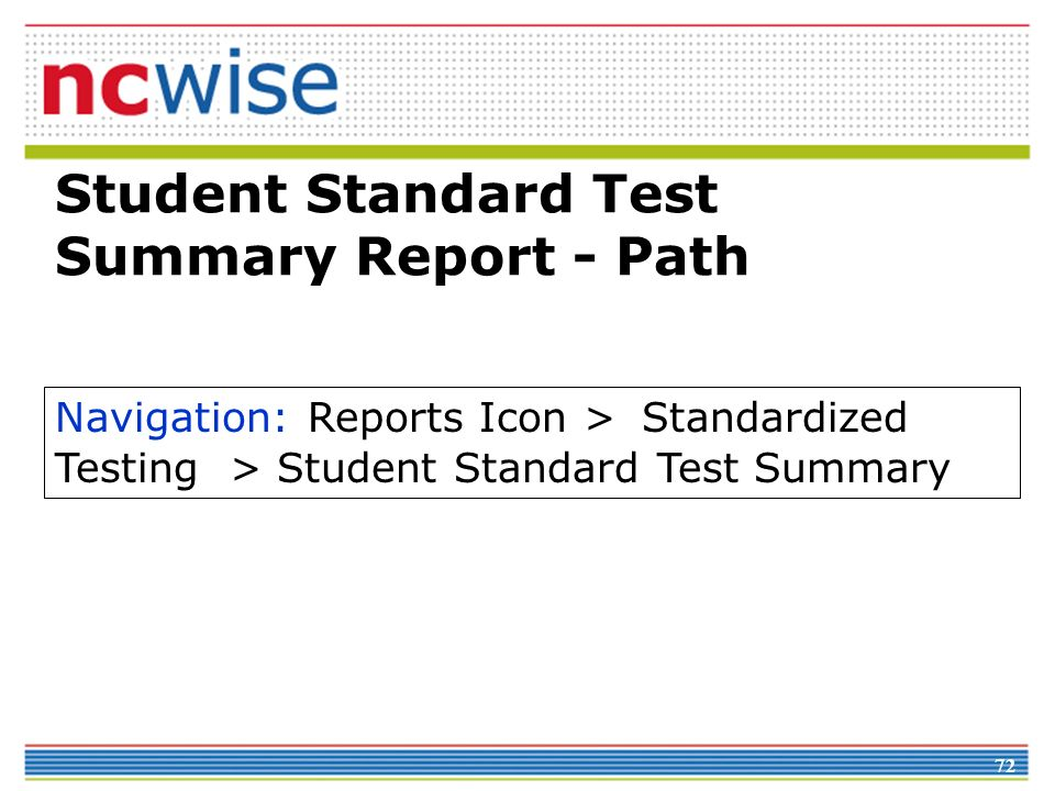 72 Student Standard Test Summary Report - Path Navigation: Reports Icon > Standardized Testing > Student Standard Test Summary