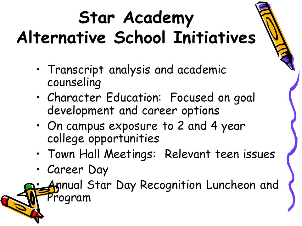 Star Academy Alternative School Initiatives Transcript analysis and academic counseling Character Education: Focused on goal development and career options On campus exposure to 2 and 4 year college opportunities Town Hall Meetings: Relevant teen issues Career Day Annual Star Day Recognition Luncheon and Program