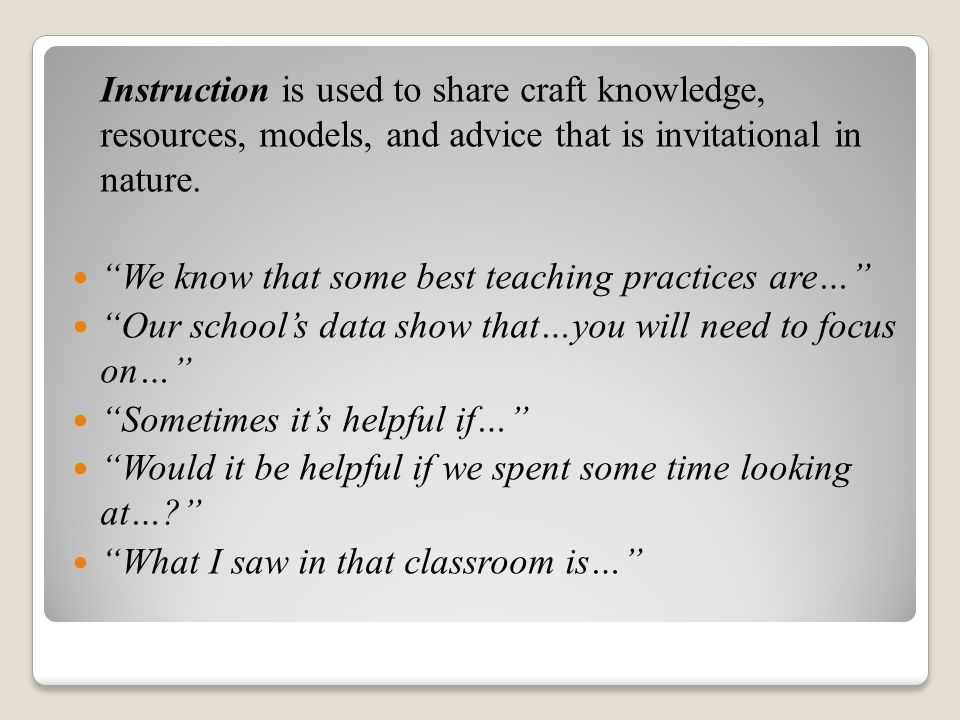 Instruction is used to share craft knowledge, resources, models, and advice that is invitational in nature.