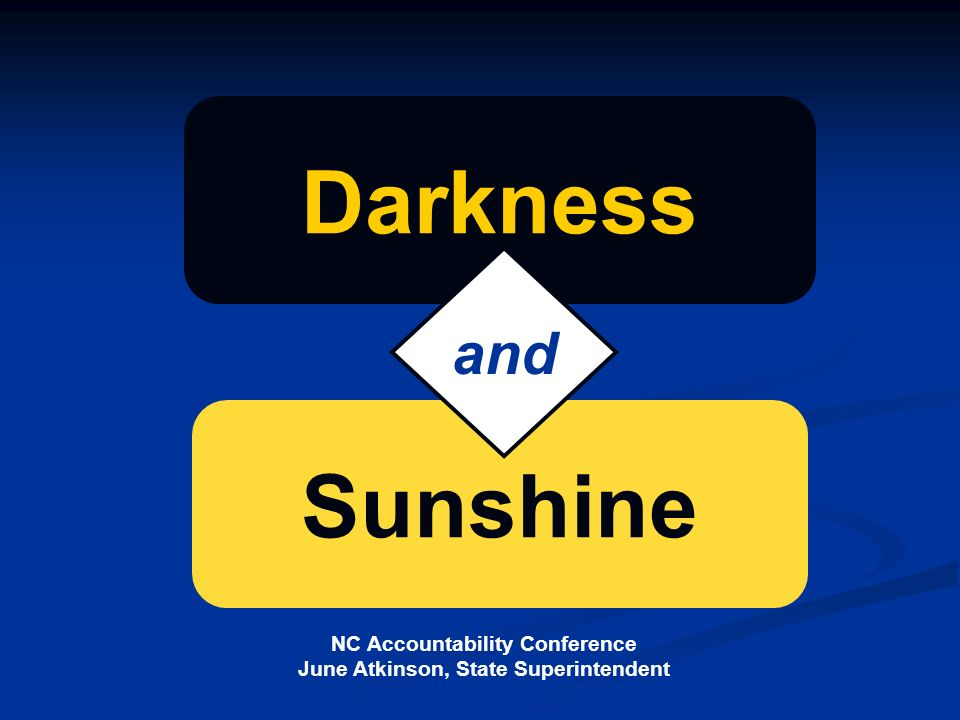 NC Accountability Conference June Atkinson, State Superintendent Sunshine Darkness and