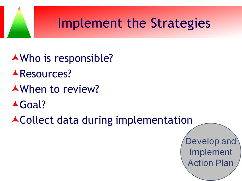 Implement the Strategies Who is responsible? Resources? When to review? Goal? Collect data during implementation 117