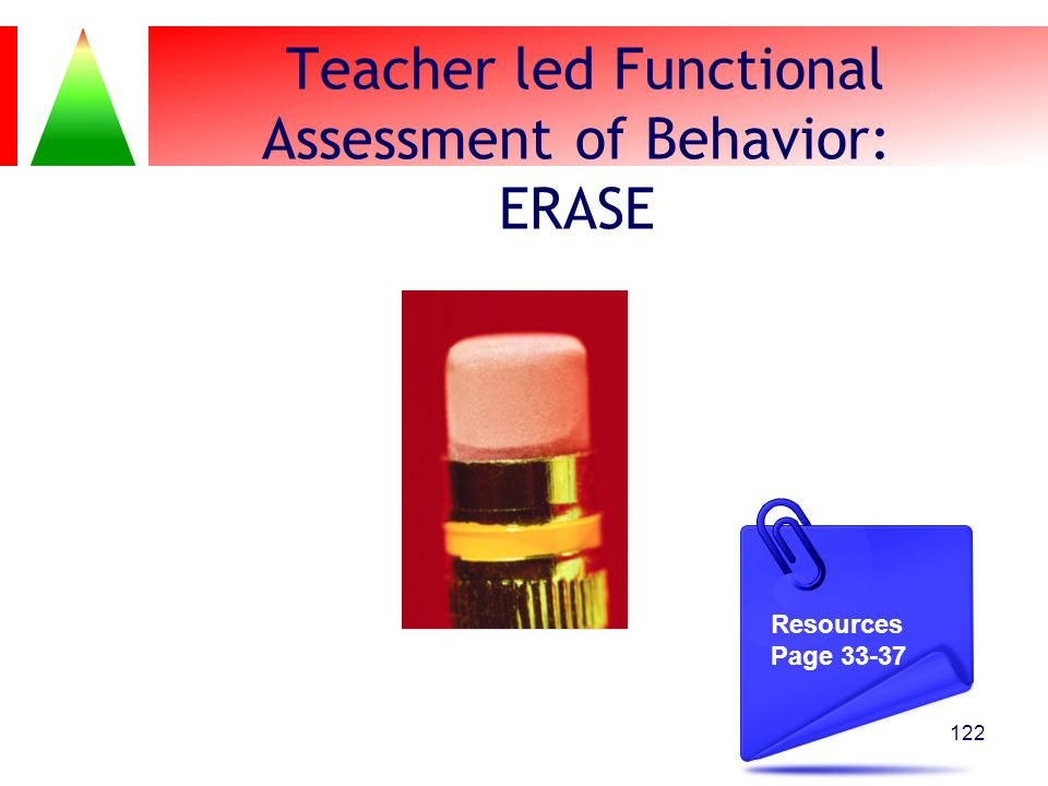 Teacher led Functional Assessment of Behavior: ERASE 122 Resources Page 33-37