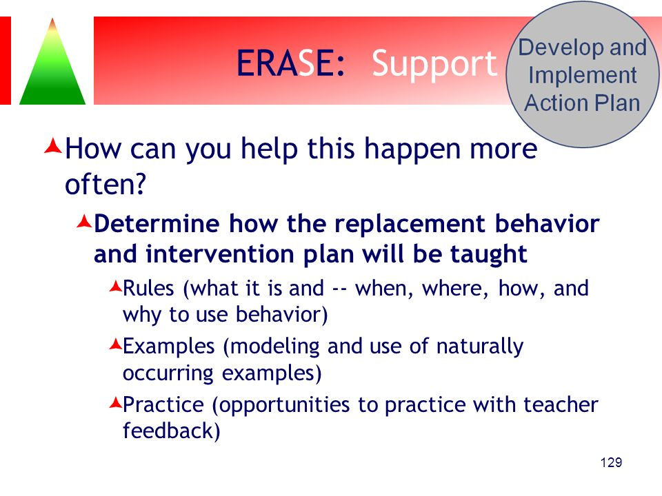 ERASE: Support How can you help this happen more often? Determine how the replacement behavior and intervention plan will be taught Rules (what it is