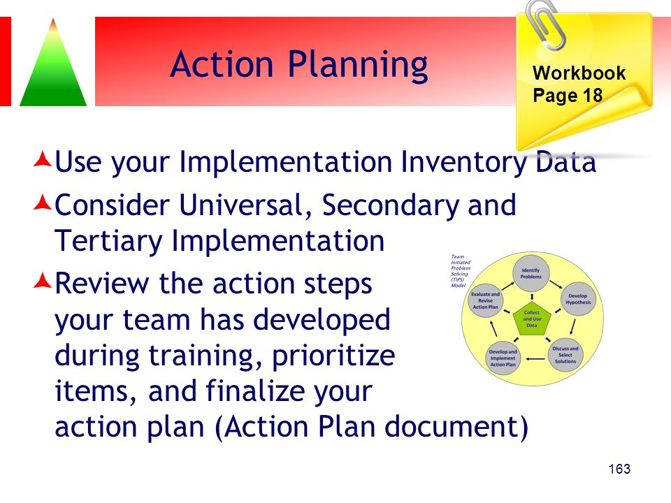 Action Planning Use your Implementation Inventory Data Consider Universal, Secondary and Tertiary Implementation Review the action steps your team has