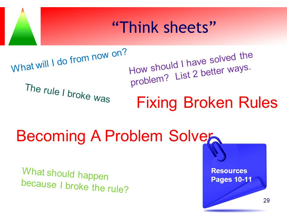 Think sheets 29 Fixing Broken Rules The rule I broke was What should happen because I broke the rule? Becoming A Problem Solver How should I have solv