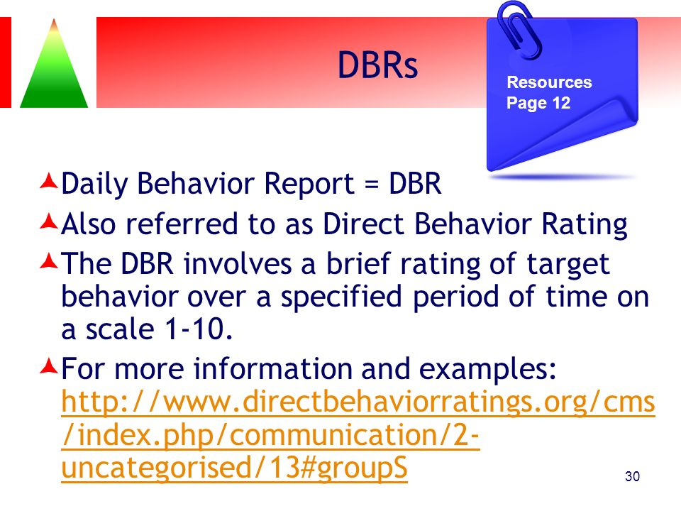 DBRs Daily Behavior Report = DBR Also referred to as Direct Behavior Rating The DBR involves a brief rating of target behavior over a specified period