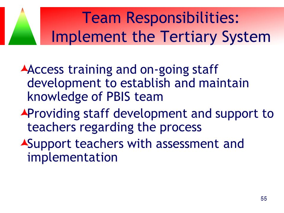 Team Responsibilities: Implement the Tertiary System Access training and on-going staff development to establish and maintain knowledge of PBIS team P
