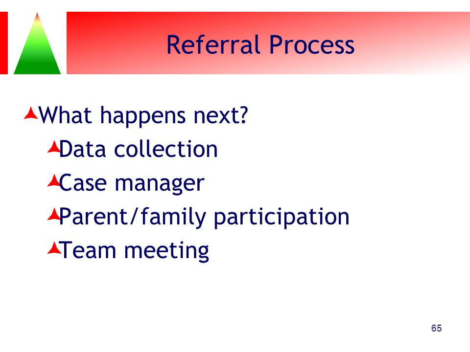 Referral Process What happens next? Data collection Case manager Parent/family participation Team meeting 65