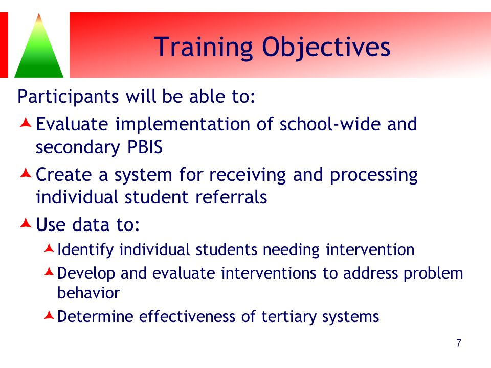 Training Objectives Participants will be able to: Evaluate implementation of school-wide and secondary PBIS Create a system for receiving and processi