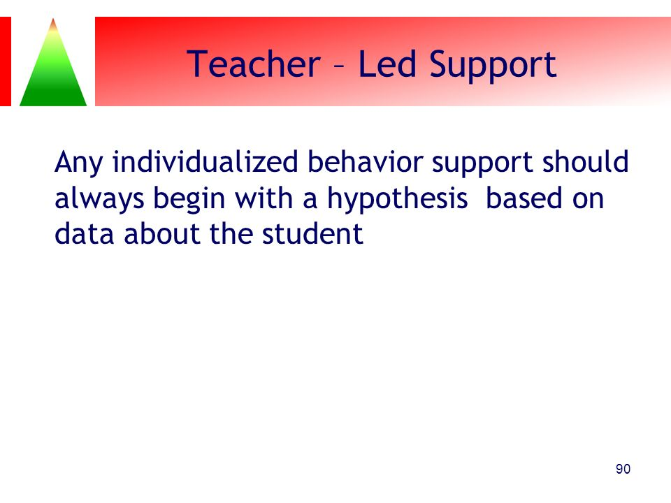 Teacher – Led Support Any individualized behavior support should always begin with a hypothesis based on data about the student 90