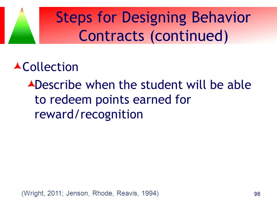 Steps for Designing Behavior Contracts (continued) Collection Describe when the student will be able to redeem points earned for reward/recognition 96
