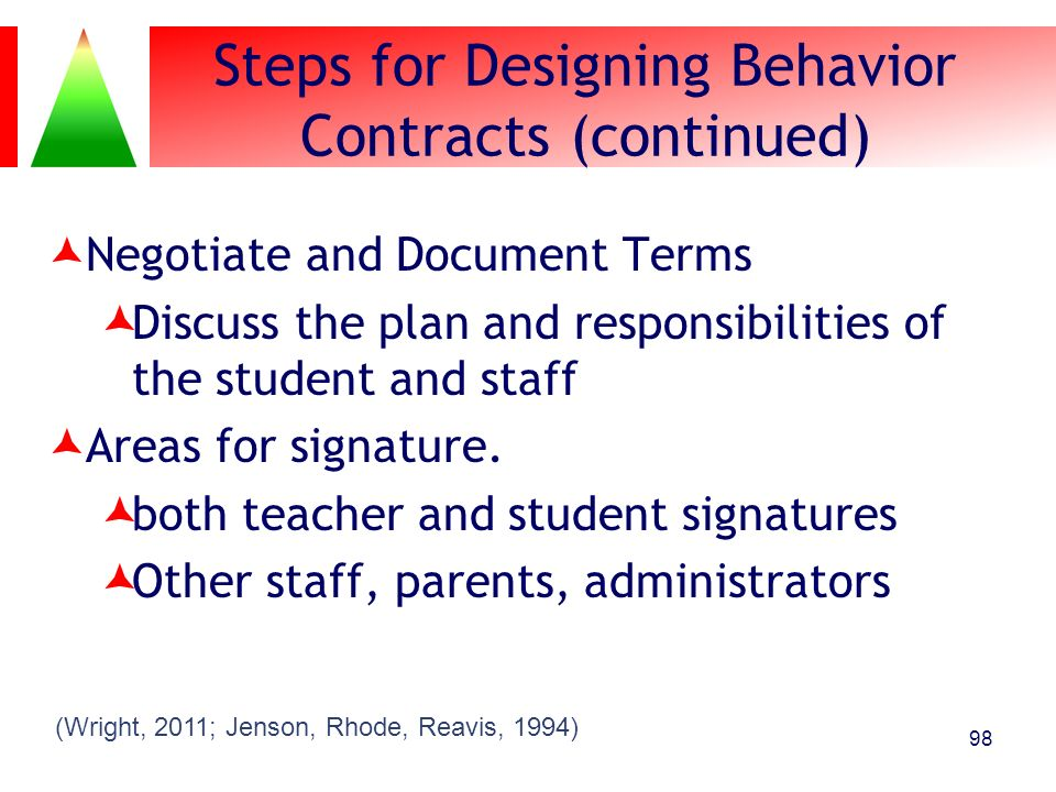 Steps for Designing Behavior Contracts (continued) Negotiate and Document Terms Discuss the plan and responsibilities of the student and staff Areas f
