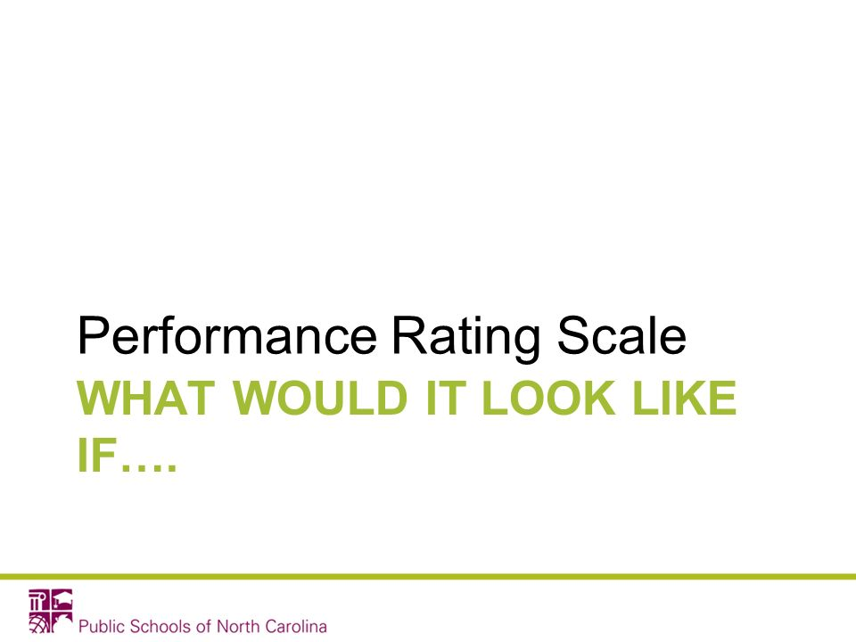 WHAT WOULD IT LOOK LIKE IF…. Performance Rating Scale