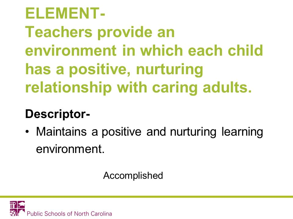 ELEMENT- Teachers provide an environment in which each child has a positive, nurturing relationship with caring adults. Descriptor- Maintains a positi