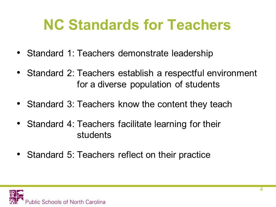 NC Standards for Teachers Standard 1: Teachers demonstrate leadership Standard 2: Teachers establish a respectful environment for a diverse population