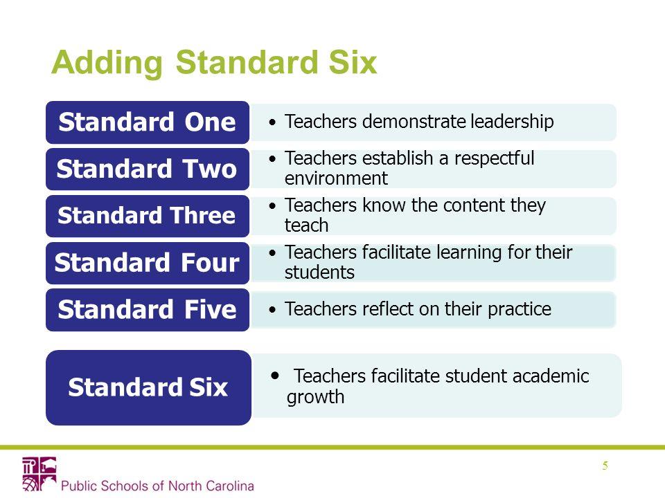 Adding Standard Six 5 Teachers demonstrate leadership Standard One Teachers establish a respectful environment Standard Two Teachers know the content