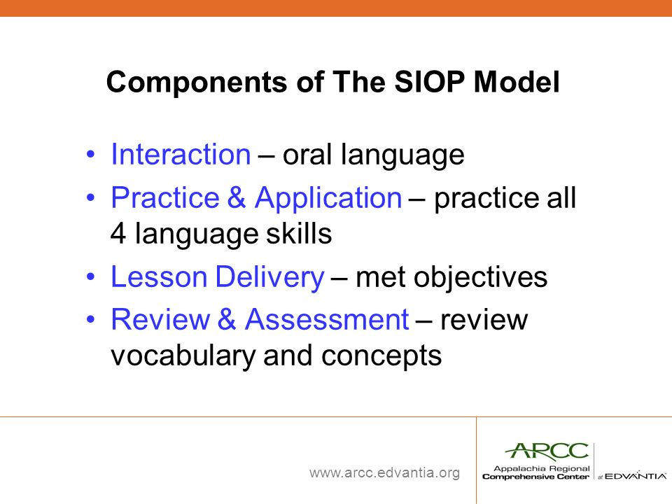 www.arcc.edvantia.org Components of The SIOP Model Interaction – oral language Practice & Application – practice all 4 language skills Lesson Delivery