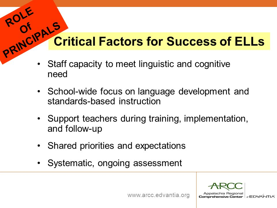 www.arcc.edvantia.org Staff capacity to meet linguistic and cognitive need School-wide focus on language development and standards-based instruction S