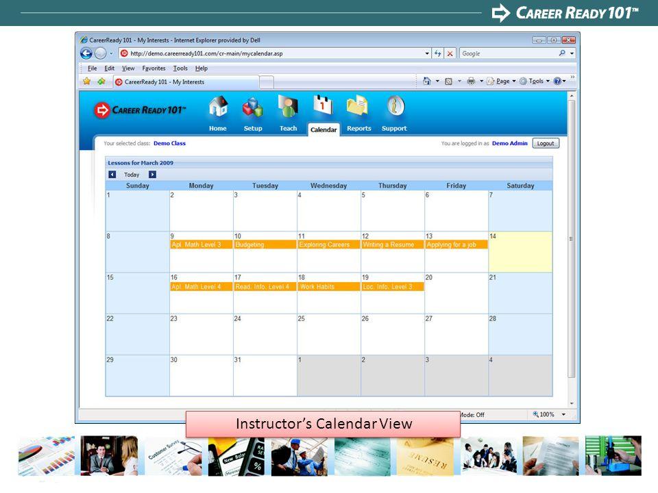 Instructors Calendar View