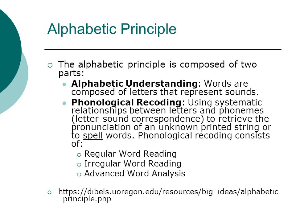 Alphabetic Principle The alphabetic principle is composed of two parts: Alphabetic Understanding: Words are composed of letters that represent sounds.