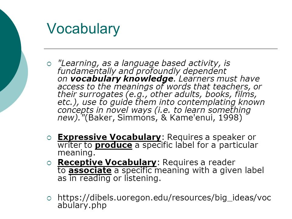 Vocabulary Learning, as a language based activity, is fundamentally and profoundly dependent on vocabulary knowledge.
