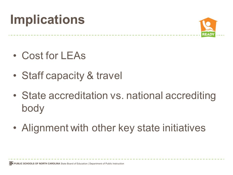Implications Cost for LEAs Staff capacity & travel State accreditation vs.