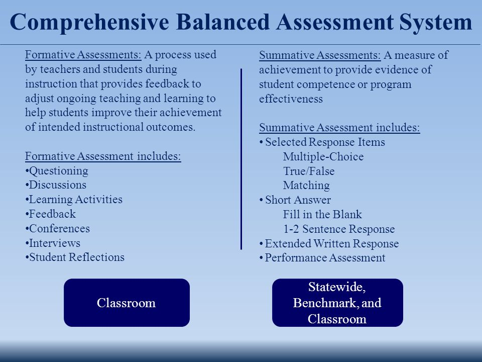Comprehensive Balanced Assessment System Formative Assessments: A process used by teachers and students during instruction that provides feedback to adjust ongoing teaching and learning to help students improve their achievement of intended instructional outcomes.