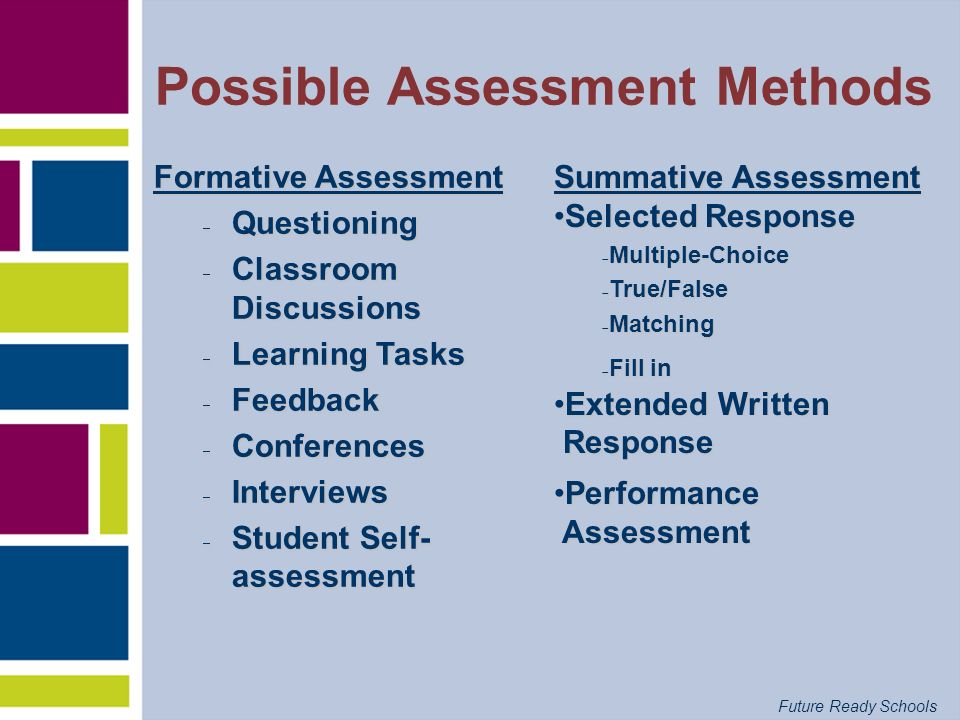 Future Ready Schools Both Formative and Summative Assessment Summative A measure of achievement to provide evidence of student competence or program effectivenessFormative A process used by teachers and students during instruction that provides feedback to adjust ongoing teaching and learning to help students improve their achievement of intended instructional outcomes
