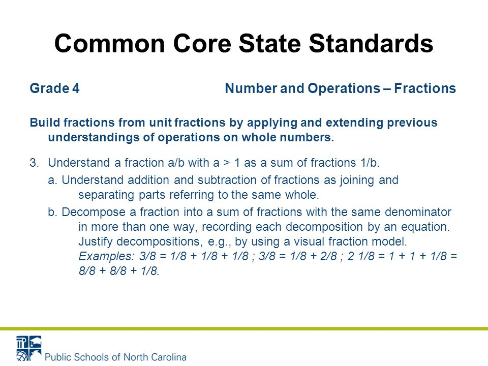 Grade 4 Number and Operations – Fractions Build fractions from unit fractions by applying and extending previous understandings of operations on whole numbers.