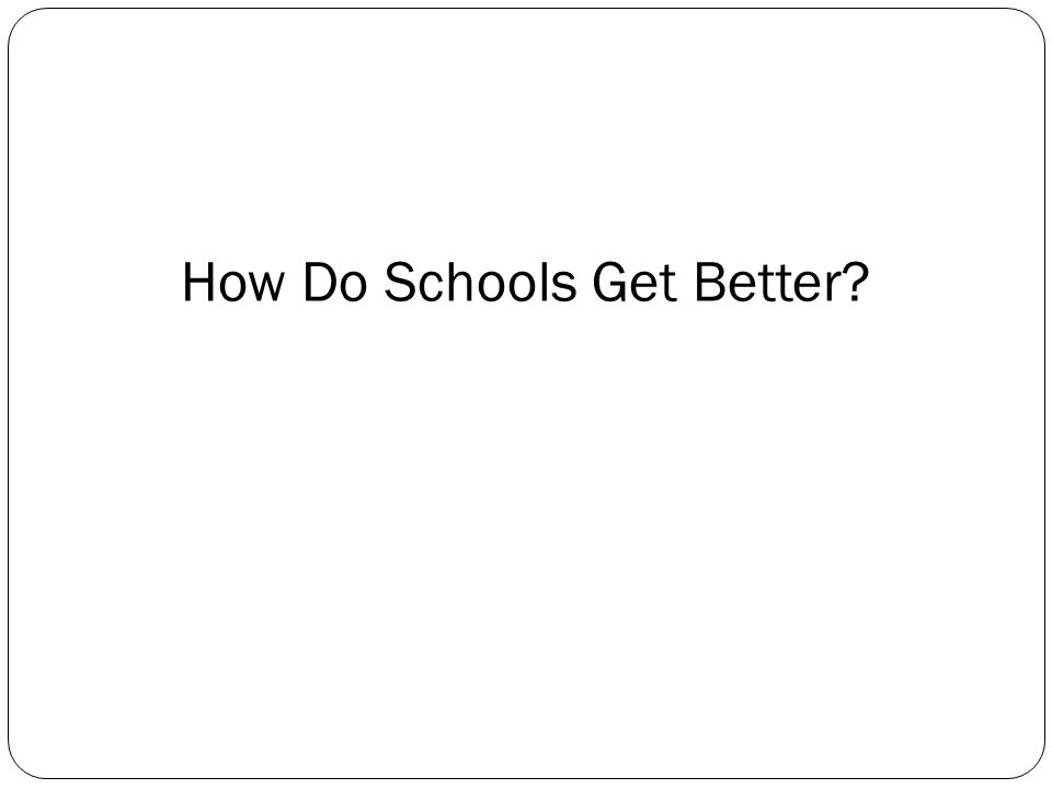 How Do Schools Get Better