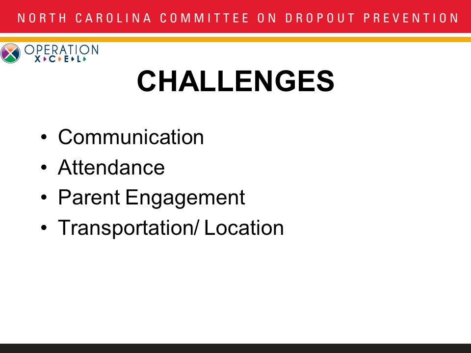 CHALLENGES Communication Attendance Parent Engagement Transportation/ Location