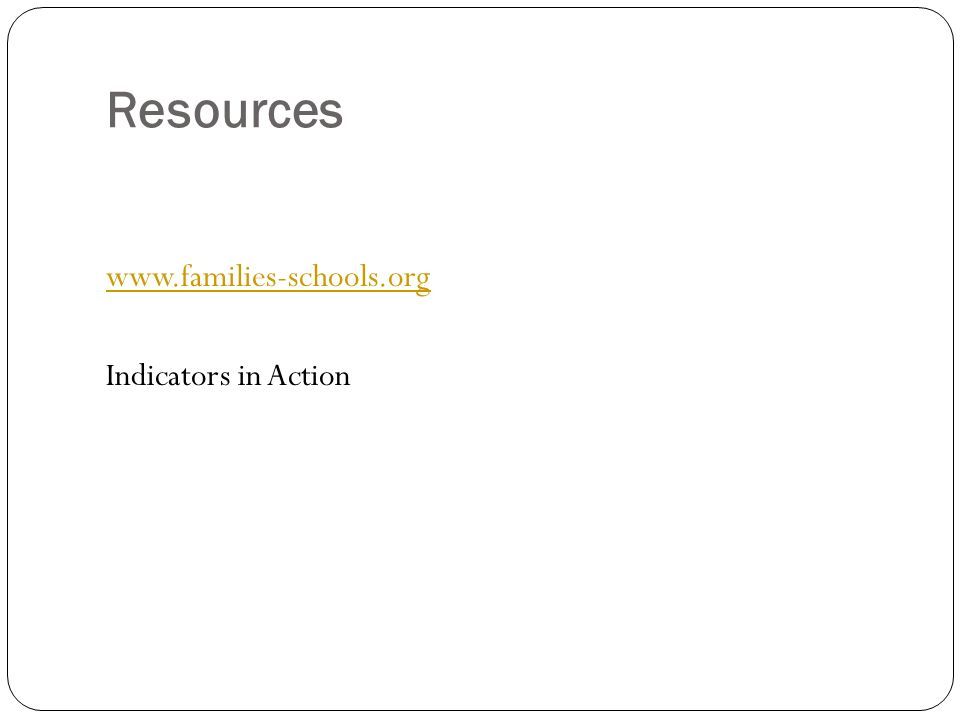 Resources www.families-schools.org Indicators in Action