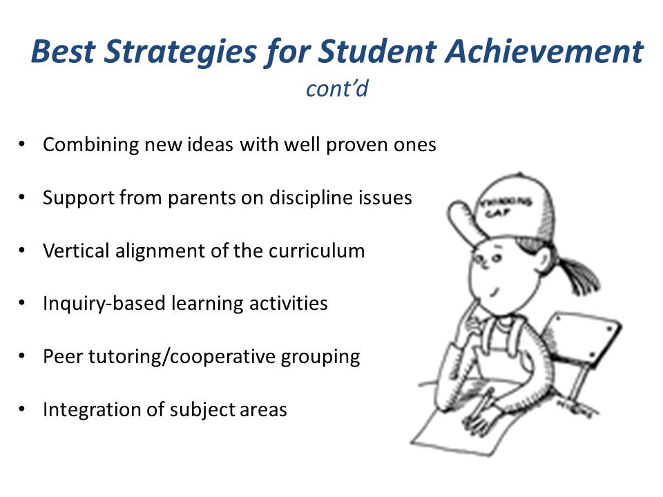 Best Strategies for Student Achievement contd Combining new ideas with well proven ones Support from parents on discipline issues Vertical alignment of the curriculum Inquiry-based learning activities Peer tutoring/cooperative grouping Integration of subject areas