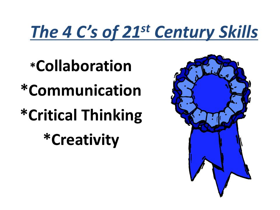 The 4 Cs of 21 st Century Skills * Collaboration *Communication *Critical Thinking *Creativity