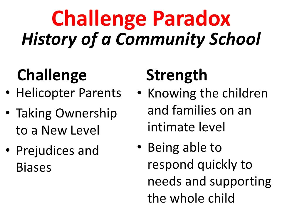 Challenge Paradox History of a Community School Challenge Helicopter Parents Taking Ownership to a New Level Prejudices and Biases Strength Knowing the children and families on an intimate level Being able to respond quickly to needs and supporting the whole child