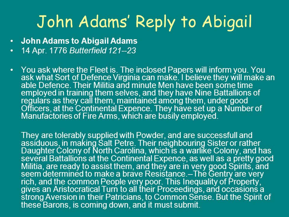 John Adams Reply to Abigail John Adams to Abigail Adams 14 Apr.