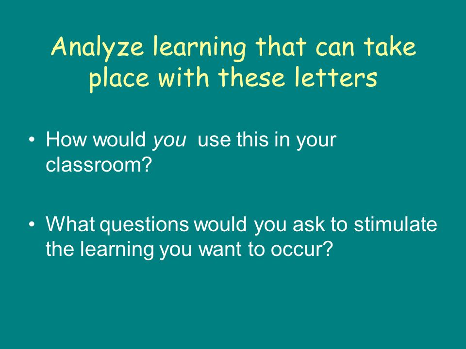 Analyze learning that can take place with these letters How would you use this in your classroom.