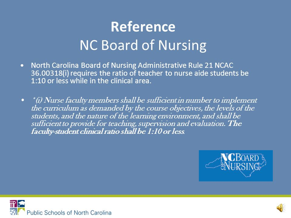 Nurse Aide Regulatory Agencies Federal Register NC Board of Nursing Division of Health Service Regulation NC DPI Nurse Aide Program Manager