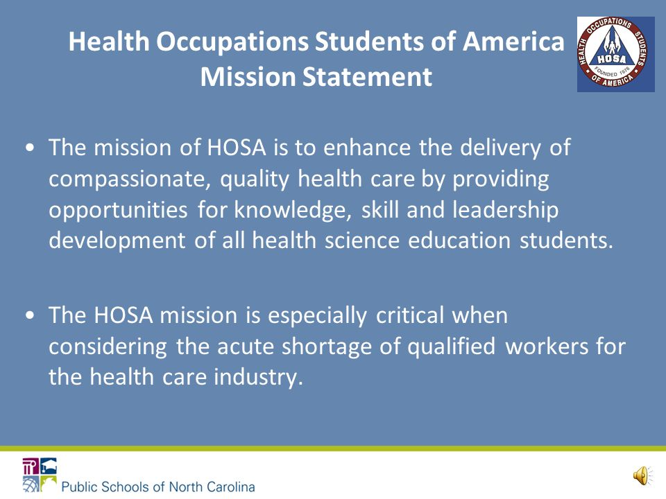 Health Science Education Mission Meet present and predicted needs for health care professionals Work within a health care delivery system that is characterized by diversity and changing technologies Prepare students to pursue appropriate health careers