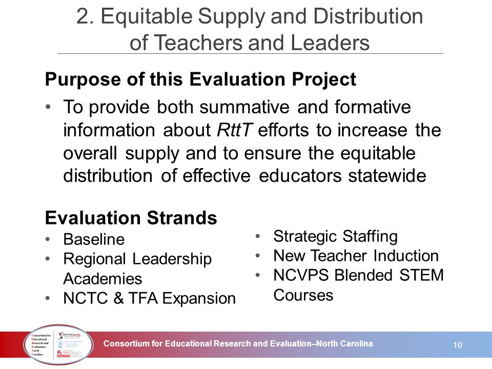 Consortium for Educational Research and Evaluation–North Carolina Purpose of this Evaluation Project To provide both summative and formative informati