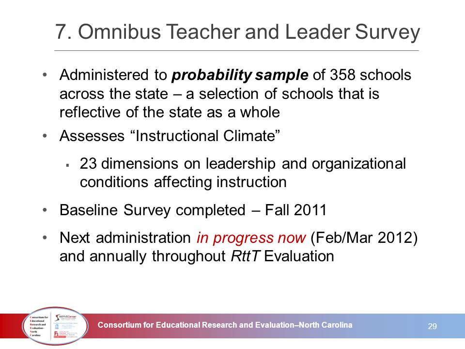 Consortium for Educational Research and Evaluation–North Carolina 7. Omnibus Teacher and Leader Survey Administered to probability sample of 358 schoo
