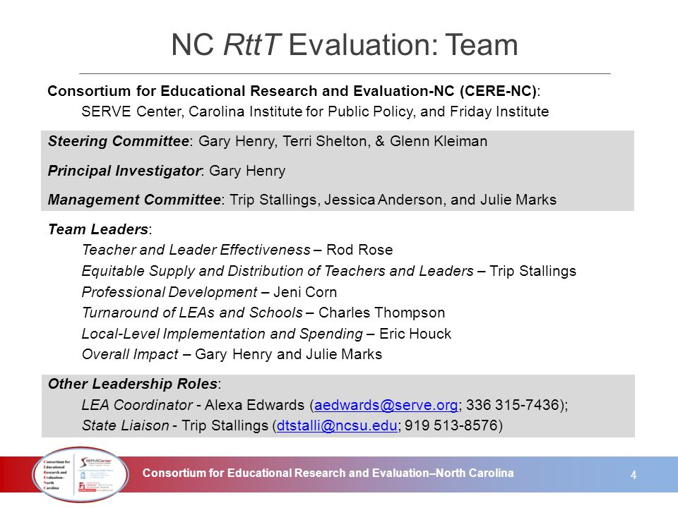 Consortium for Educational Research and Evaluation–North Carolina NC RttT Evaluation: Team Consortium for Educational Research and Evaluation-NC (CERE