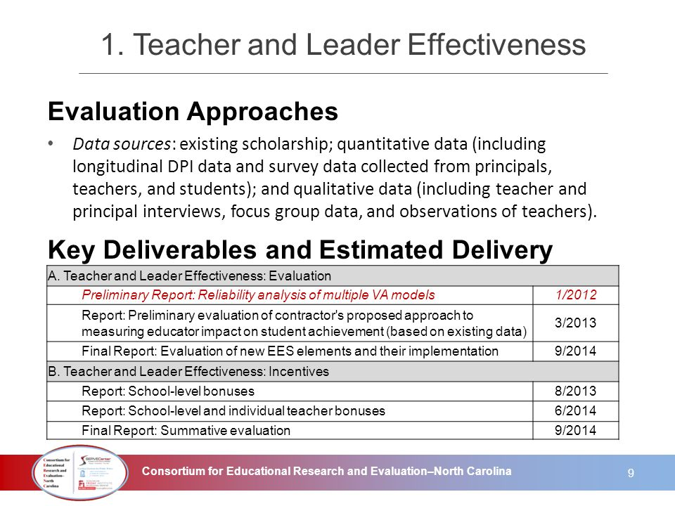 Consortium for Educational Research and Evaluation–North Carolina 1. Teacher and Leader Effectiveness Evaluation Approaches Data sources: existing sch