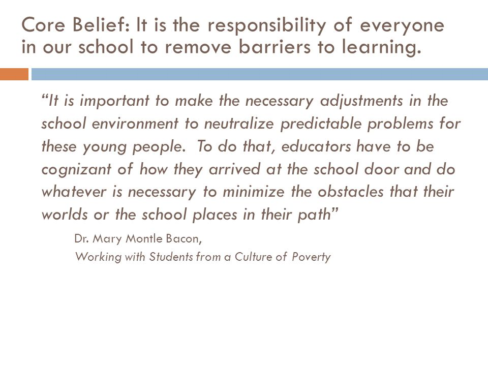 Core Belief: It is the responsibility of everyone in our school to remove barriers to learning. It is important to make the necessary adjustments in t