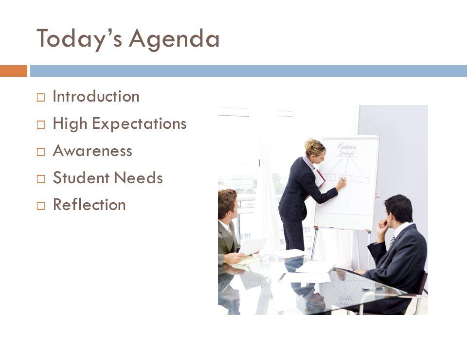 Todays Agenda Introduction High Expectations Awareness Student Needs Reflection